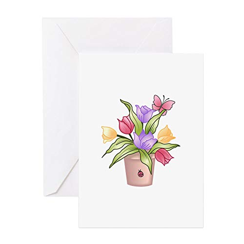 CafePress TULIPS Greeting Cards Greeting Card, Note Card, Birthday Card, Blank Inside Glossy ()