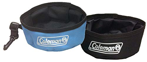 Coleman Collapsible Waterproof Travel Bowl for Dogs (2 Pack), Blue/Black'