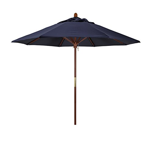 California Umbrella 9 Rd. Wooden Market Umbrella, Push Open Pin Stop , Sunbrella Navy
