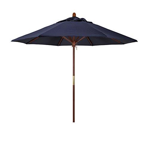 California Umbrella 9' Rd. Wooden Market Umbrella, Push Open Pin Stop , Sunbrella Navy ()