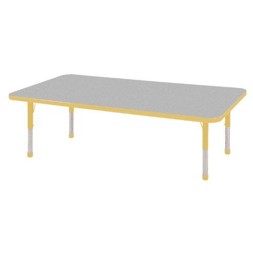 "ECR4Kids 24"" x 60"" Rectangular Activity Table, Chunky Legs (Gray Top/Yellow Edge)"