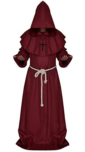 Costume for The Medieval Monks Priest Robe Hooded Cosplay Various Styles (Large, Red)