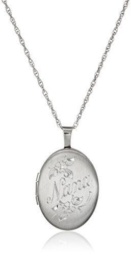 "Sterling Silver Oval ""Nana"" Locket Necklace, 18"""