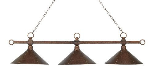 Elk 182-Ac-M2 Designer Classics 3-Light Billiard Light, 14-1/2-Inch, Antique Copper With Hand Hammered Iron Shades