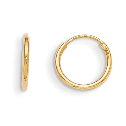 14k Yellow Gold Childrens Hoop (14K Yellow Gold 10mm Children's Endless Hoop Earrings - Baby Earrings)