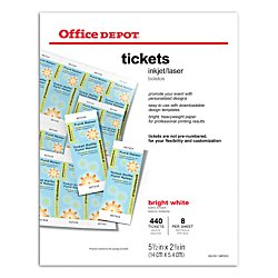 Office depot r laser inkjet tickets pack of for Office depot raffle ticket template