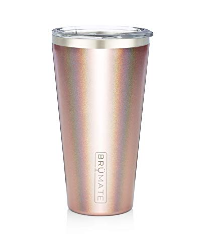 - Brümate Imperial Pint 20oz Shatterproof Double Wall Vacuum Insulated Stainless Steel Travel & Camping Mug for Beer, Cocktails, Coffee & Tea with Splash-Proof Lid for Men & Women (Glitter Rose Gold)