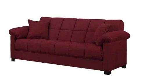 Maurice Handy Living+D50 Microfiber Pillow Top Arm Convert-a-Couch Futon Sofa Sleeper - Handy Living+D50 (Crimson) ()
