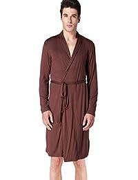 Mens Cotton Robe Soft Modal Lightweight Knit Solid Knee Length Sleepwear Bathrobe
