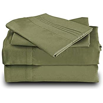 Mutlu Home Goods Bed Sheet Set - Double Brushed Microfiber Luxury Bedding - Deep Pockets, Hypoallergenic, Fade, Wrinkle, Stain Resistant -4 Piece, King, Sage Green