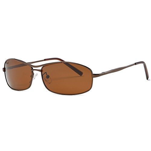 Kimorn Polarized Men's Sunglasses Rectangle Metal Frame 4 Colors Sun Glasses K0559 - Brown Metal