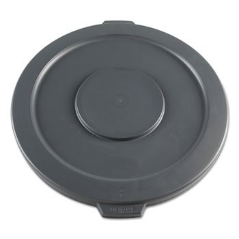 Flat Plastic Receptacle Lid (Lids For 32-Gal Waste Receptacle, Flat-Top, Round, Plastic, Gray)