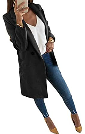 Macondoo Womens Double-Breasted Winter Warm Outwear Notched Lapel Pea Coat Black XS