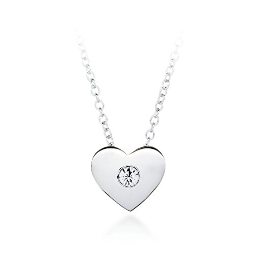 My Jewellery Story MYJS Modern Rhodium Plated Heart Necklace with Clear Swarovski Crystals, 17+2