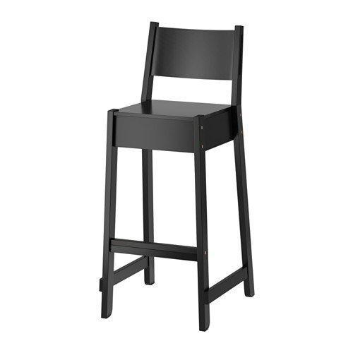Ikea Bar stool with backrest, black 1228.2517.1018