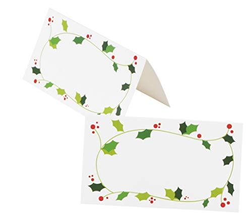 Place Cards - 100-Pack Christmas Small Tent Cards, Foldover Table Placecards, Table Setting Seat Assignment Deocration for Holiday Lunch and Dinner Parties, Christmas Wreath Design, Folded 2 x 3.5 Inc