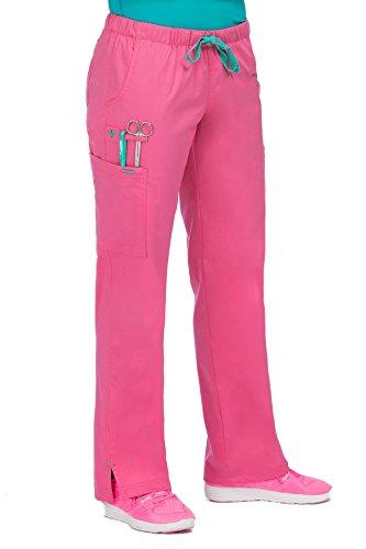 - Med Couture Women's Mobility 8723 Drawstring/Elastic Waist Pant- Bubblegum/Spearmint- Medium Petite