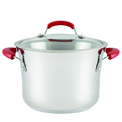 Rachael Ray 77451 Stainless Steel Nonstick Covered Stockpot, 6.5-Quart, Red Handles, Medium,