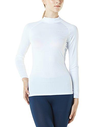TM-FUT02-WHT_Medium Tesla Women's Turtle Mock Long-Sleeved T-Shirt Cool Dry Compression Baselayer FUT02