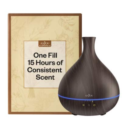Essential Oil Diffuser, 15Hours of Consistent Scent & Aromatherapy with One Fill, Anjou 500ml Wood Grain Cool Mist Humidifier, World's First Diffuser with Patented Oil Flow System for Home & Office 31KkS54qM8L