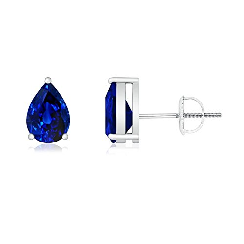 Platinum Pear Shaped Sapphire - Pear-Shaped Blue Sapphire Stud Earrings in Platinum (6x4mm Blue Sapphire)