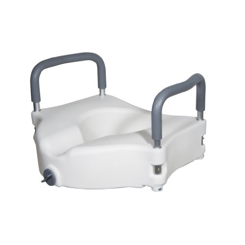 Drive Medical Elevated Raised Toilet Seat with Removable Padded Arms, Standard (Hip Replacement Kit)