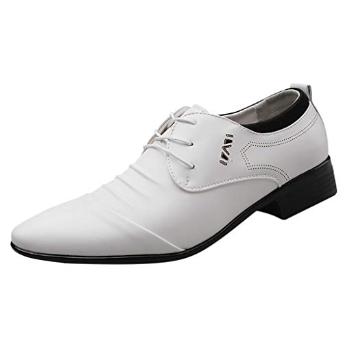 - Haalife◕‿Men's Pointed Toe Oxfords Pleather Dress Shoes Mens Formal Wedding Shoes Extra Wide Business Shoes White