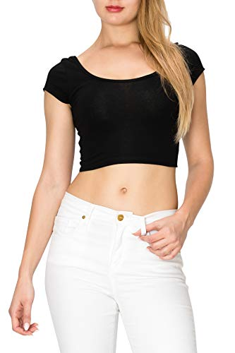 EttelLut Cute Basic Crop Top-Casual Sexy Yoga Gym Cotton Knit Regular Plus Size