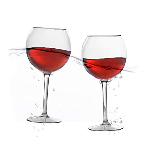 Floating Wine Glasses for Pool (18 Oz | Set of 2) - Pool Wine Glasses That Float | Shatterproof Poolside Wine Glasses | Beach Glass | Outdoor Tritan Plastic Wine ()