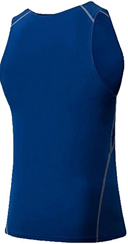 Findci Mens Breathable Running Cool Sports Tight Sleeveless Shirt (XXL, Blue)