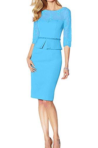 Blau Knielang La Abendkleider Brautmutterkleider mia Blau Braut Partykleider Etuikleider Standsamt Festlichkleider Kleider Figurbetont qtUfaEU