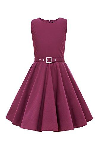 BlackButterfly Kids 'Audrey' Vintage Clarity 50's Children's Girls Dress (Plum Purple, 9-10 YRS)