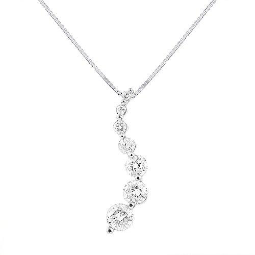 Diamond Journey Pendant Necklace 14K White Gold 1.00 Carats ()