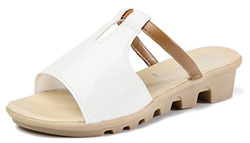 Antidérapant Femme Fille Talons Forme Sandales à YOGLY Plate Eté Chaussures Hauts Pantoufles Blanc Chausson de AzWwFqcPH