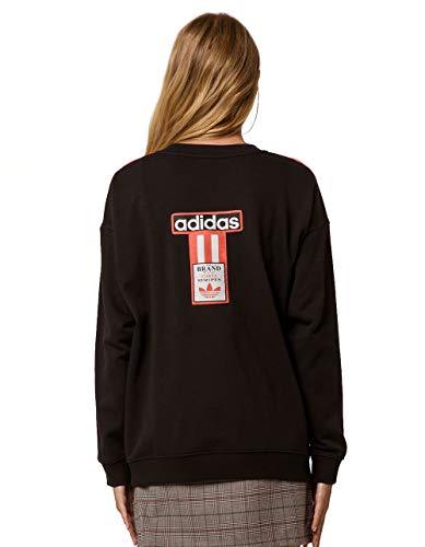 adidas Originals Women's 3 Stripes Sweatshirt (L, Black) ()