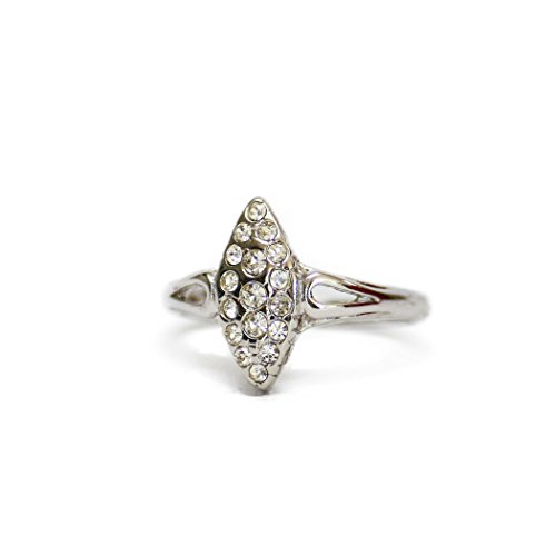 Providence Vintage Jewelry Clear Swarovski Crystals Antiqued 18kt White Gold Electroplated 18kt White Gold Antique Ring
