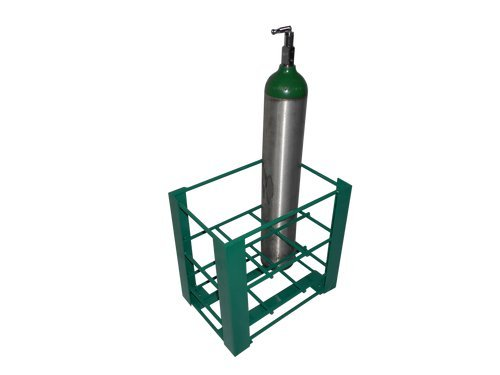 FWF OXYGEN FLOOR MOUNTABLE RACK HOLDS 8 (D OR E STYLE) CYLINDERS DIAMETER OF 4.3'' MADE IN USA