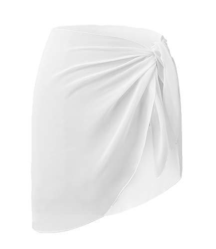 Premium Quality Polyester - LIENRIDY Womens Sarong Wrap Beach Swimsuit Cover up Swimwear White Short Plus Size