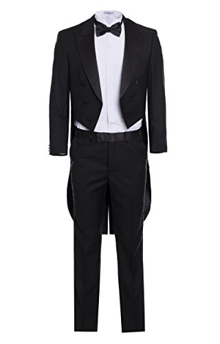 Italian Designer Men's Black Tail Tuxedo, Super 150's (48 Long) - Super 150's Mens Italian Suits
