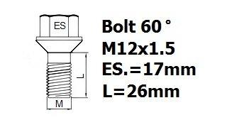 hex 17mm 2003 roue boulons contre-/écrous alliages M12x1,5 Renault Scenic Mk2
