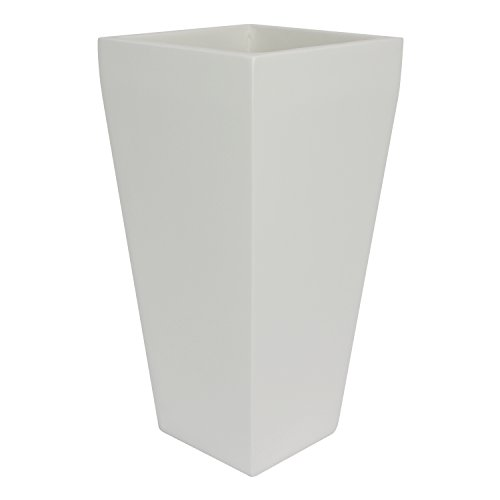 Windsor Tall Square Fiberglass Planter, White, 7 Inch