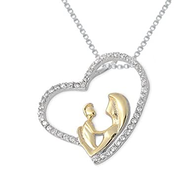 Richy-Glory Real Pure Sterling Silver Mother and Child hand in hand