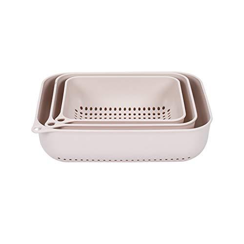 Kitchen Household Rectangular Plastic Washing Basket Drain Basket Filter Water Hollow Fruit Storage Basket Three-Piece SYFO