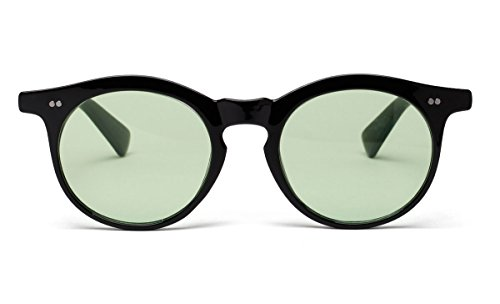 Bestum Vintage Inspired Round Sunglasses With Rivets Tinted Lens UV400 (Black, Light - Lenses Light Green