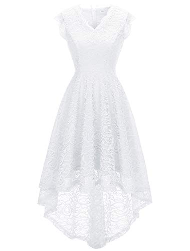 MODECRUSH Womens Ruffle Sleeve Formal Hi Low Floral Lace Cocktail Party Dresses XS White