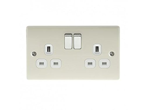BG Electrical npr22w Metal Pearl Nickel Double Plug Socket Switch - White