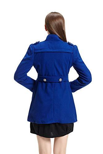 Manteau Slim Femme Jacke Unicolore Manches Blau Trench Hiver Revers Longues Longues Fit Boutonnage Manteaux Costume Patchwork Double Coupe HwROwq