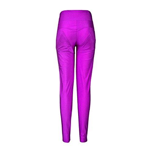 Culater® Mujeres Pantalones Deportes Yoga gótica Tallas Leggings Púrpura