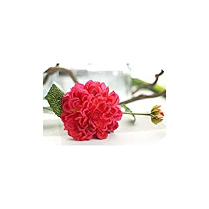 2 Heads Dahlias Artificial Flowers Silk Fall Vivid Real Touch Fake Flowers,Rose Red 1