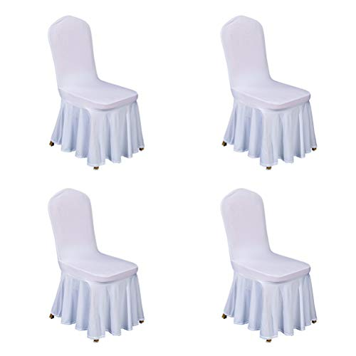 larsuyar Solid Color Stretch Spandex Dining Chair Covers Set of 4, Washable Ruffled Long Dining Chair Slipcover Multi-Color Chair Seat Covers for Hotel (White 4 -